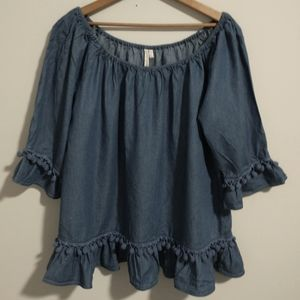 Chambray Pom Pom Top Blouse Tunic Shirt Large Lrg